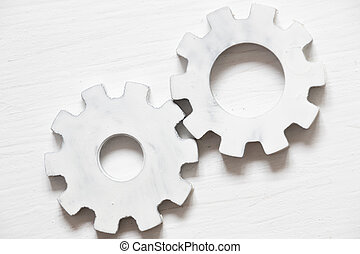 White gears - industrial background