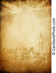 Grunge vintage background. London theme. With space for...