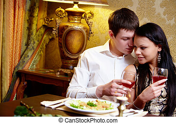Amour - Portrait of loving man looking at girlfriend during...