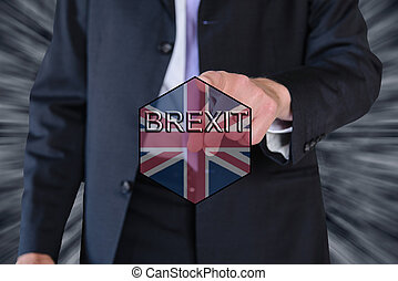 brexit and eu flag and a business man