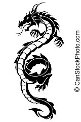 Tribal dragon tattoo - Black tribal dragon tattoo vector...