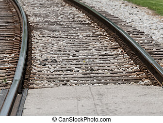 Close Up of Railroad Ties on track on a hot summer day
