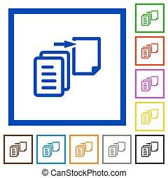 Move file framed flat icons - Set of color square framed...