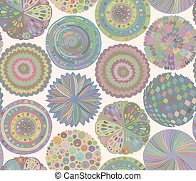 Seamless pattern with hand drawn fancy circle.