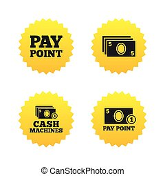 Cash and coin icons Money machines or ATM - Cash and coin...