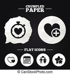 Valentine day icons Love heart timer sign - Crumpled paper...