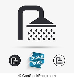 Shower sign icon Douche with water drops symbol Flat icons...