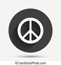 Peace sign icon. Hope symbol. Antiwar sign. Circle flat...