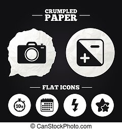 Photo camera icon Flash light and exposure - Crumpled paper...