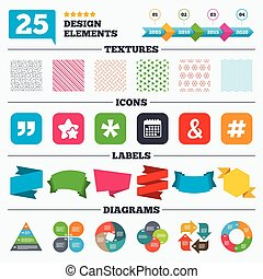 Quote, asterisk footnote icons Hashtag symbol - Offer sale...