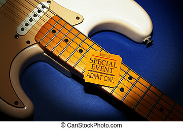 Special Event ticket stub on a electric guitar