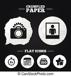 Photo camera icon Flash light and Auto ISO - Crumpled paper...