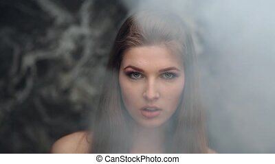 girl model smoke blowing smoke biting her lip - Beautiful...