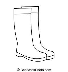 Rubber boots icon, outline style - Rubber boots icon in...