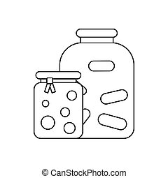 Jars with pickled vegetables and jam icon in outline style...