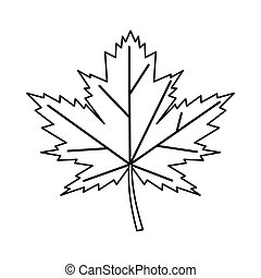 Maple leaf icon, outline style - Maple leaf icon in outline...