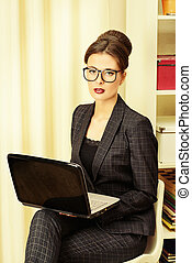 corporative values - Businesswoman working at the office....