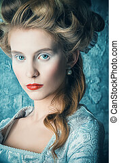 Marie Antoinette style - Fashion portrait of a beautiful...