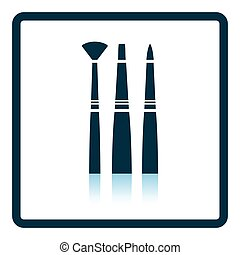 Paint brushes set icon. Shadow reflection design. Vector...