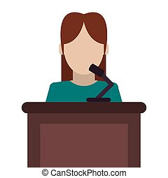 woman speaking on stand icon - flat design woman speaking on...