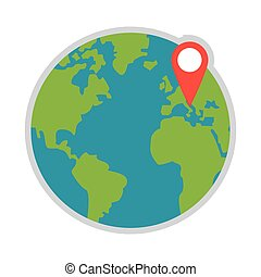 earth globe with gps pin icon