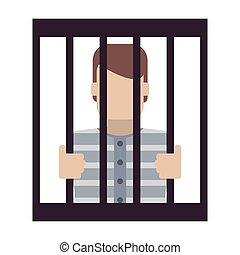 jail inmate behind bars icon - flat design jail inmate...