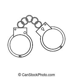 metal handcuffs icon - flat design metal handcuffs icon...