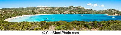 Panoramic view of Rondinara beach in Corsica Island in...