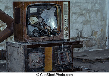 old television in a house