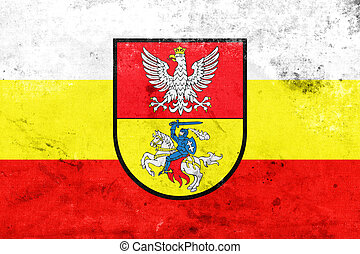 Flag of Bialystok, Poland, with a vintage and old look