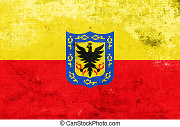 Flag of Bogota, Colombia, with a vintage and old look