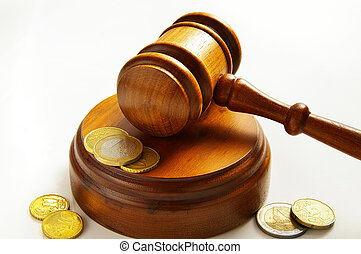 assorted euro coins and judges court gavel