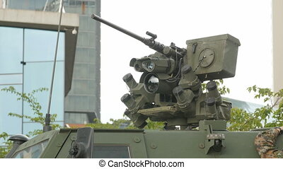 Close up view of the turret, armaments and gun.