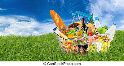 shopping basket filled with food on meadow