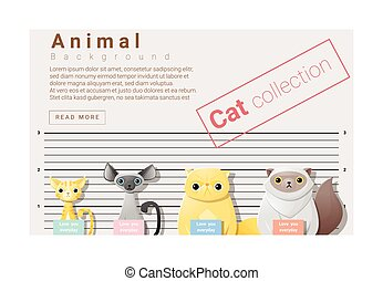 Cute animal family background with Cats 3 - Cute animal...