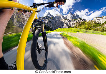 fast bicycle front view - of fast dynamic bicycle with...