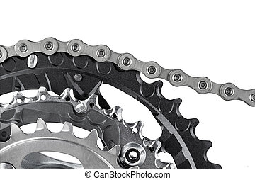 bicycle crank and chain - close-up of bicycle crank set with...