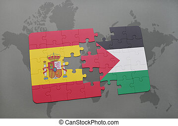 puzzle with the national flag of spain and palestine on a...