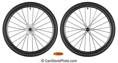 bicycle wheels - set of bicycle wheels isolated on white...