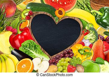 蔬菜, 心, 框架, 水果, 成形
