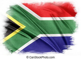 South Africa flag on plain background