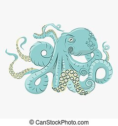Octopus with curling tentacles swimming underwater, hand...