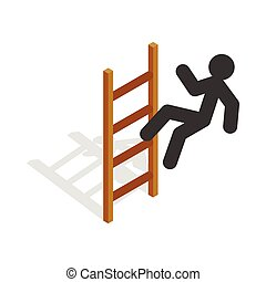 Man climbs the stairs icon, isometric 3d style