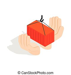 Hands holding container icon, isometric 3d style - Hands...