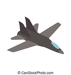Military aircraft icon, isometric 3d style - Military...
