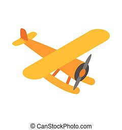 Orange plane icon, isometric 3d style