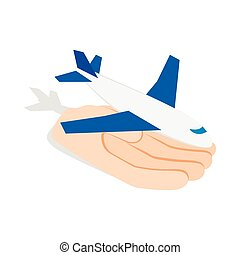 Hand holding plane icon, isometric 3d style - Hand holding...