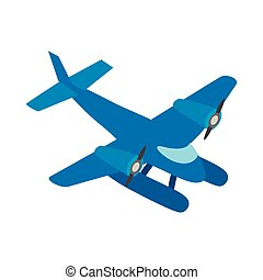 Blue small plane icon, isometric 3d style - Blue small plane...