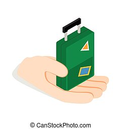 Hand holding a travel suitcase icon in isometric 3d style...