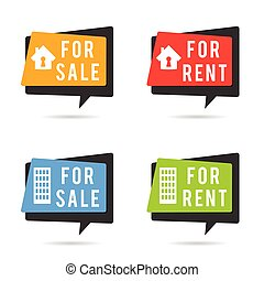 house for rent and sale set illustration